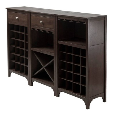 Ancona Wine Cabinet Modular Set Wood/Black - Winsome
