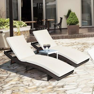 costway 2pcs patiojoy patio rattan folding lounge chair chaise adjustable white cushion
