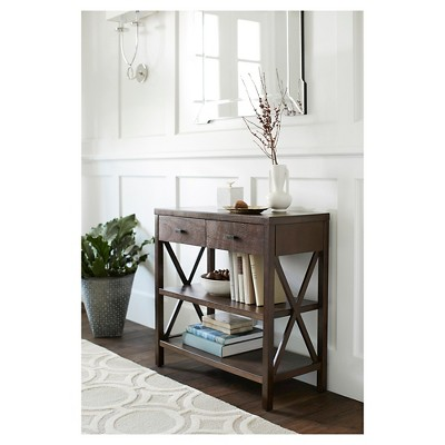 target sofa table espresso in living rooms owings console 2 shelf threshold