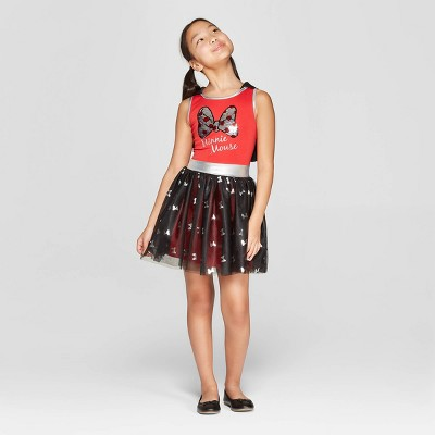 Girls' Minnie Mouse Bows Flip Sequin Tank Dress - Red/Black