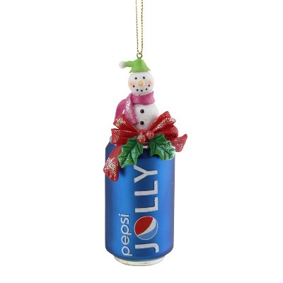 """Northlight 4.75"""" Jolly Pepsi Can with Snowman Topper Glass Christmas Ornament - Blue"""