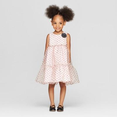 Toddler Girls' Clip Dot A line Dress - Cat & Jack™ Light Pink