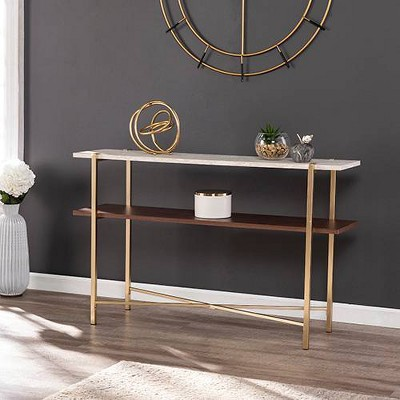 amelia faux marble console table with storage brass aiden lane