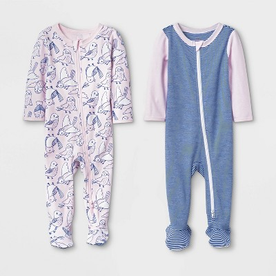 Baby Girls' 2pk Birds and Striped Basic Zipper Sleep 'N Play Pajama - Cat & Jack™ Pink/Blue