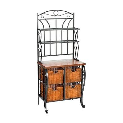 baker s rack with wicker storage iron black aiden lane