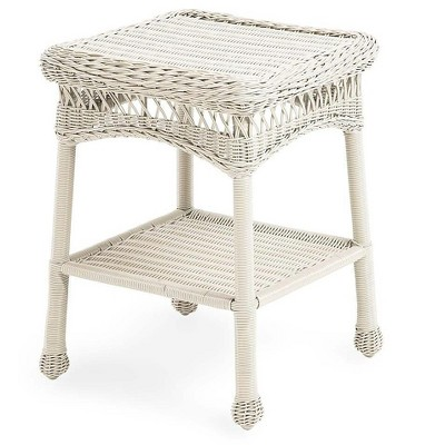 plow hearth easy care resin wicker end table bright white