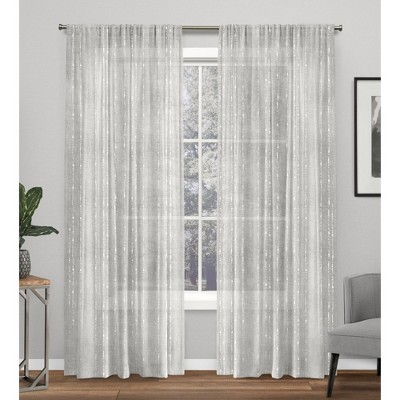 Muskoka Teardrop Slub Embellished Hidden Tab Top Curtain Panel Pair -Exclusive Home