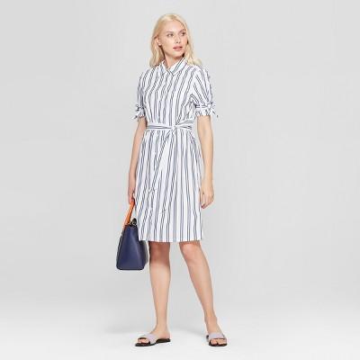 Women's Striped Short Sleeve Shirt Dress - A New Day™ White/Blue