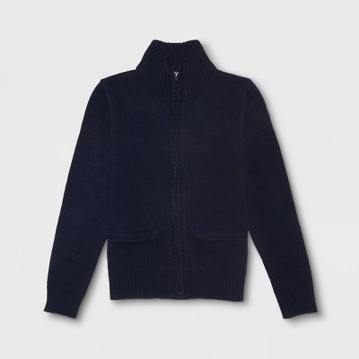 French Toast Boys' Zip Neck Uniform Pullover Sweater - Navy