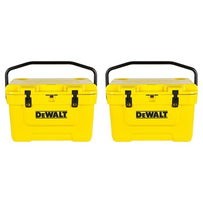 Dewalt 25 Quart Roto Molded Insulated Lunch Box Portable Drink Cooler (2 Pack)