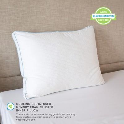 sensorpedic gel core gel infused memory foam clusters and gel fiber jumbo bed pillow