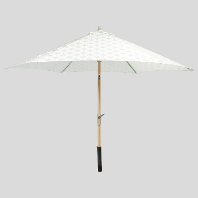 9 round palm print patio umbrella