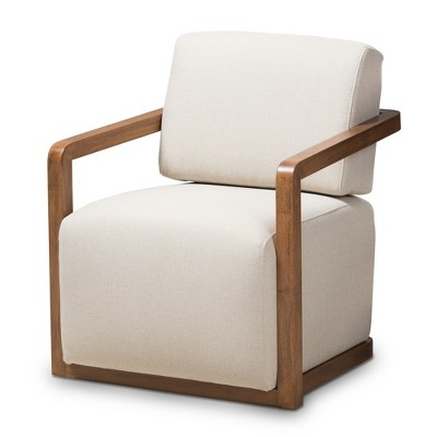 Sawyer Mid Century Modern Fabric Upholstered Walnut Wood Armchair - Baxton Studio
