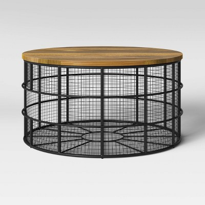 hillsmere wire cage coffee table with removable wood top black threshold