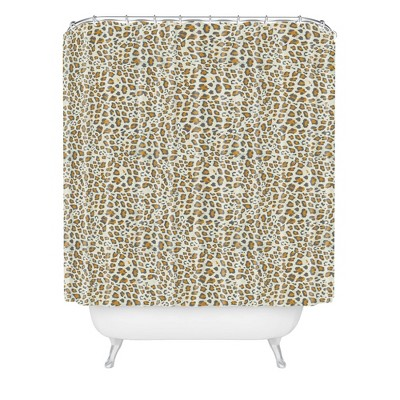holli zollinger leopard gold shower curtain brown deny designs