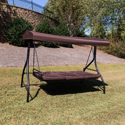 flash furniture 3 seat outdoor steel converting patio swing canopy hammock with cushions outdoor swing bed brown