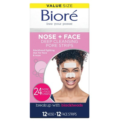 Biore Nose + Face Deep Cleansing Pore Strips - 24ct : Target