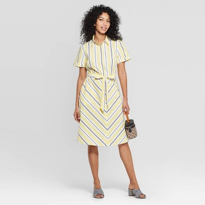 Women's Striped Short Sleeve Cotton Shirtdress - A New Day™ Yellow