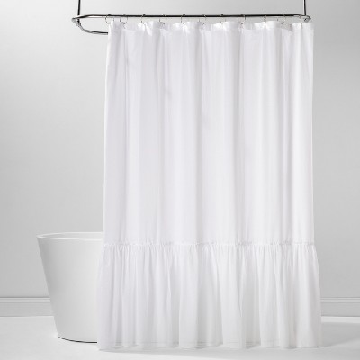 Panelled Border Ruffle Shower Curtain White - Threshold™