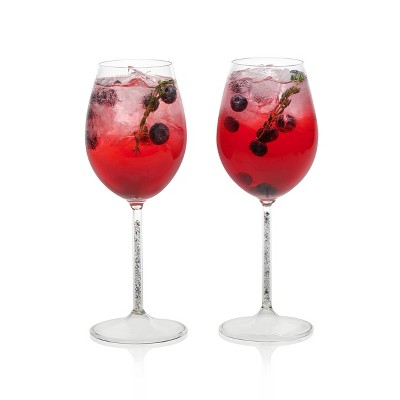 Libbey Glint Silver Stem Wine Glasses 15oz - Set of 2