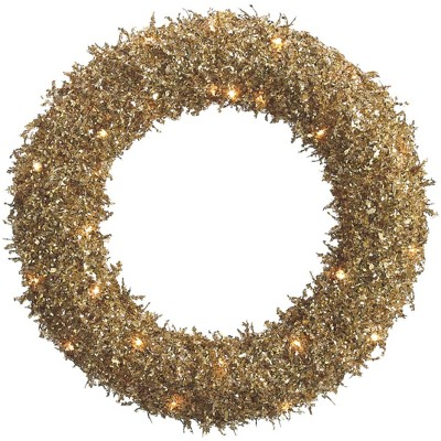 """Allstate 22"""" Prelit Sparkling Frosted Gold Glittered Sequin Christmas Wreath"""