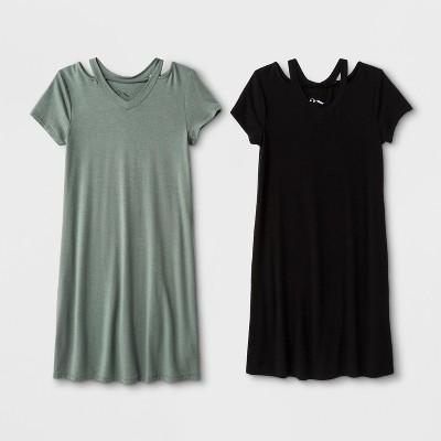 Girls' 2pk Cold Clavical Dress - art class™ Black