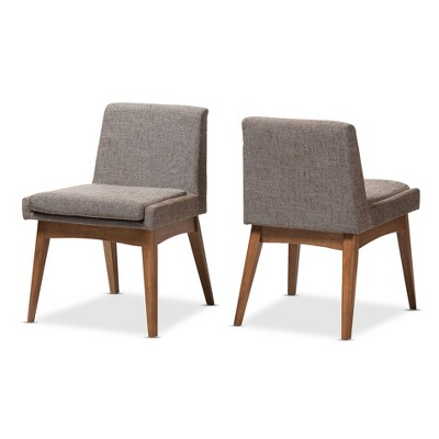fabric side chairs white tufted set of 2 nexus mid century modern wood finishing and upholstered dining chair gravel multi color walnut brown baxton studio target