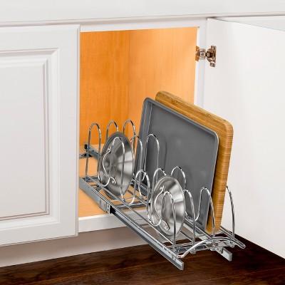 pull out kitchen cabinet microwave cart lynk professional slide pan lid holder organizer rack target