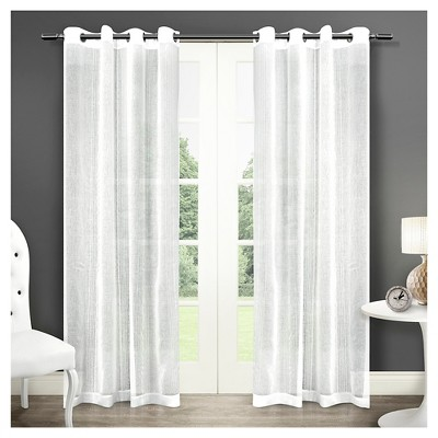 Sabrina Sheer Striped Grommet Top Window Curtain Panel Pair - Exclusive Home™