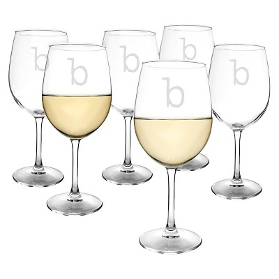 Cathy's Concepts® Personalized 12 oz. White Wine Glasses (Set of 6)-B