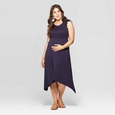 Maternity Short Sleeve Scoop Neck Smocked Front Midi Dress - Isabel Maternity by Ingrid & Isabel™ Navy