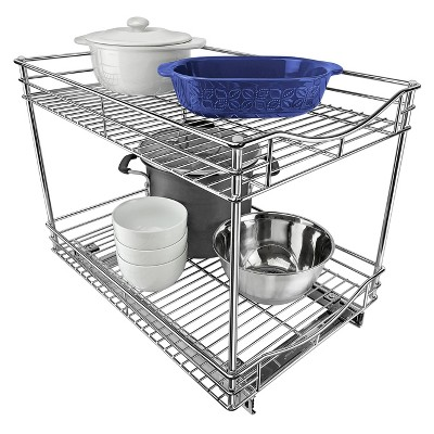 lynk professional 14 x 18 slide out double shelf pull out two tier sliding under cabinet organizer