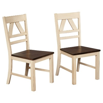 oak and white dining chairs antique bankers chair parts vintner set of 2 target marketing systems