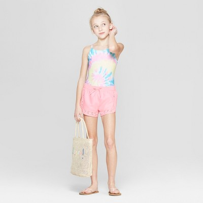 Girls' 2pc Dreamy Tie Dye One Piece Swimsuit with Shorts - Cat & Jack™ Pink