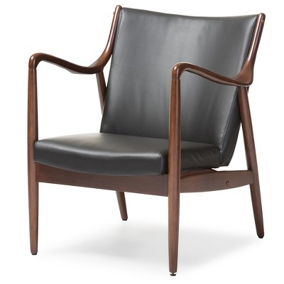 wood frame accent chairs chair exercise for seniors shakespeare mid century modern retro faux leather upholstered leisure in walnut black baxton studio target