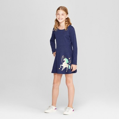 Girls' Long Sleeve Dress - Cat & Jack™ Navy
