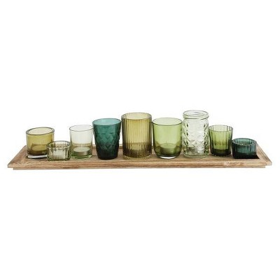 Glass & Wood Candle Gift Set Green 22 in - 3R Studios®