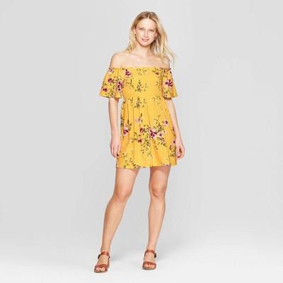 Women's Floral Print Short Sleeve Off the Shoulder Knit Dress - Xhilaration™
