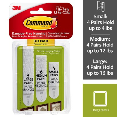 Command™ Assorted Picture Hanging Strips, Big Pack, 8 Sets Large, 5 Sets Medium, 4 Sets Small/Pack