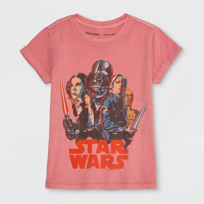 Junk Food Girls' Star Wars Short Sleeve T-Shirt - Pink