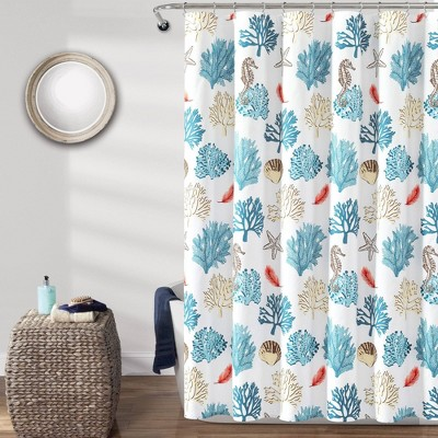single reef feather shower curtain blue coral lush decor