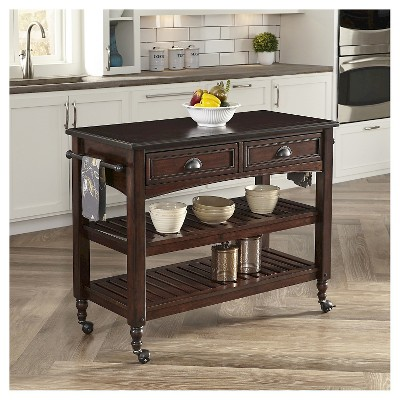 home styles kitchen cart discount kitchens melbourne country comfort with wood top aged bourbon target