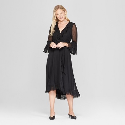 Women's Ruffle Mesh Dress - Melonie T - Black