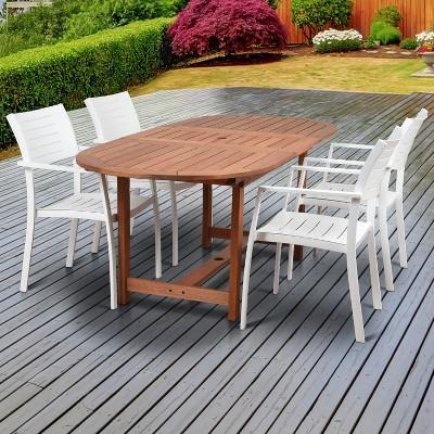 5pc valencia oval extendable aluminum eucalyptus patio dining set amazonia