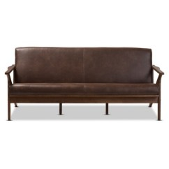 Bianca Futon Sofa Bed Review S En Chaises Longues Mid Modern Walnut Wood Distressed Faux Leather 3 Seater Dark Brown Baxton Studio Target