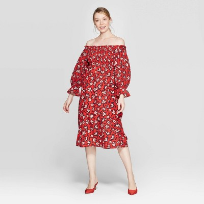 Women's Floral Print Off the Shoulder Long Sleeve Shirred Midi A Line Dress - Who What Wear™