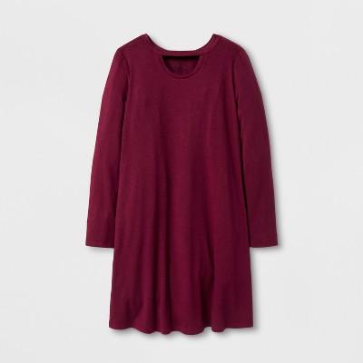 Girls' Long Sleeve Open Neck Dress - art class™ Burgundy