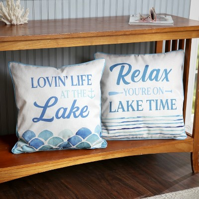 lakeside lake living throw pillow covers square decorative vacation design set of 2