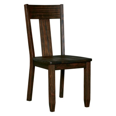 dark brown wooden dining chairs craigslist table and set of 2 trudell chair signature design by ashley
