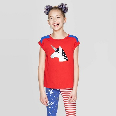 Girls' Short Sleeve Americana Flip Sequin Unicorn T-Shirt - Cat & Jack™ Red